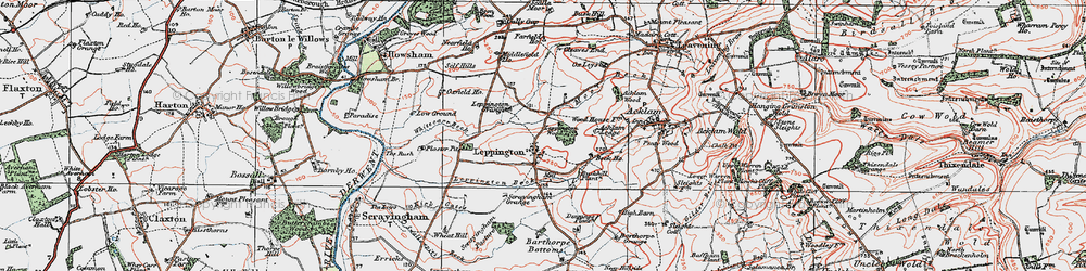Old map of Acklam Wood in 1924