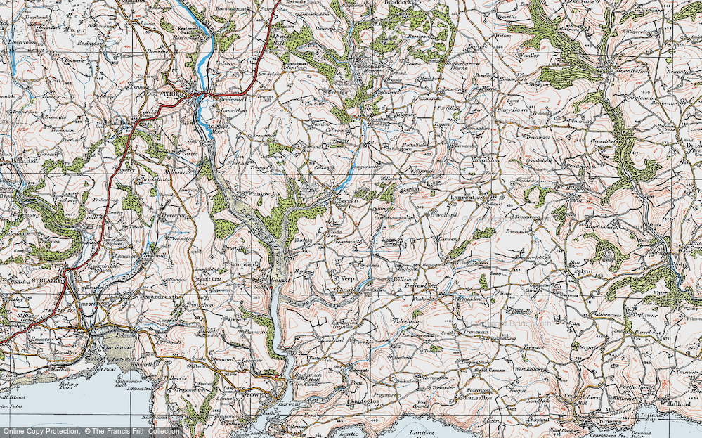 Old Map of Historic Map covering Langunnett in 1919