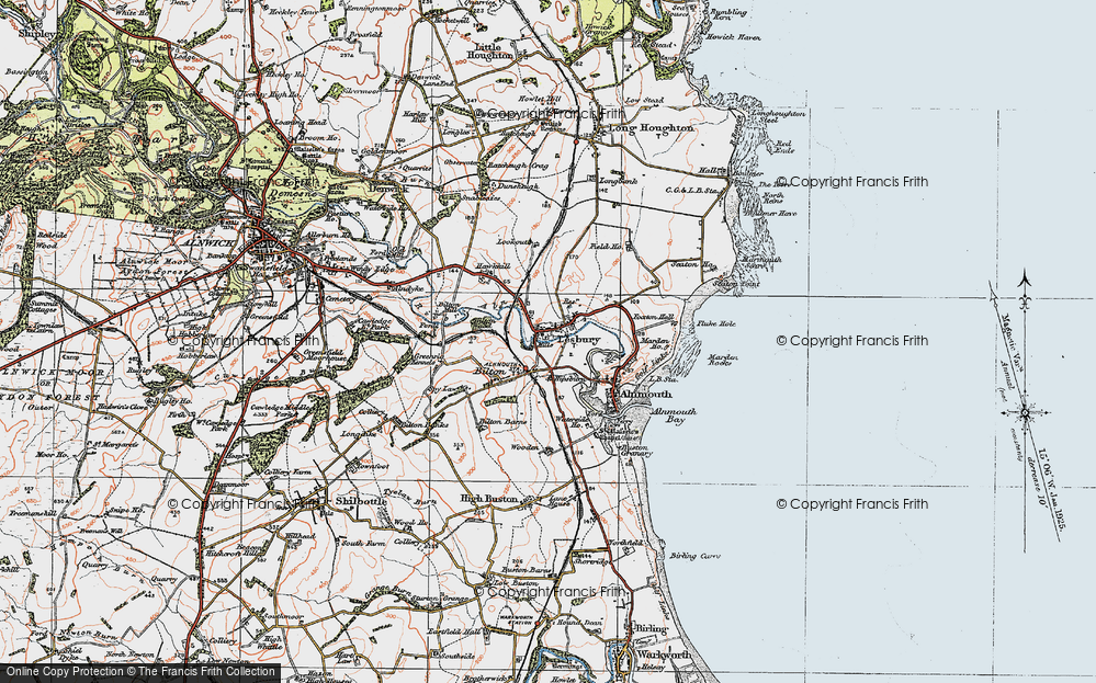 Old Map of Lesbury, 1925 in 1925