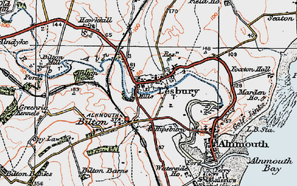 Old map of Lesbury in 1925