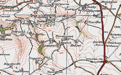 Old map of Lesnewth in 1919