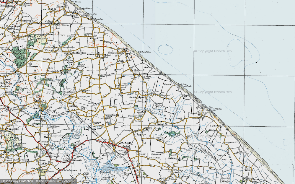 Old Map of Lessingham, 1922 in 1922