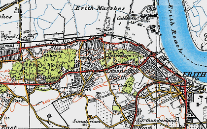 Old map of Lessness Heath in 1920