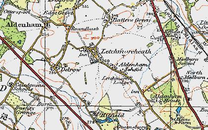 Old map of Aldenham School in 1920
