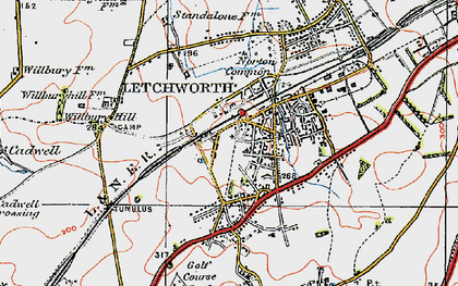 Old map of Letchworth Garden City in 1919