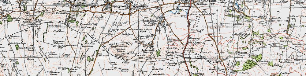 Old map of Letcombe Bassett in 1919