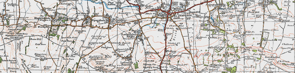 Old map of Letcombe Regis in 1919