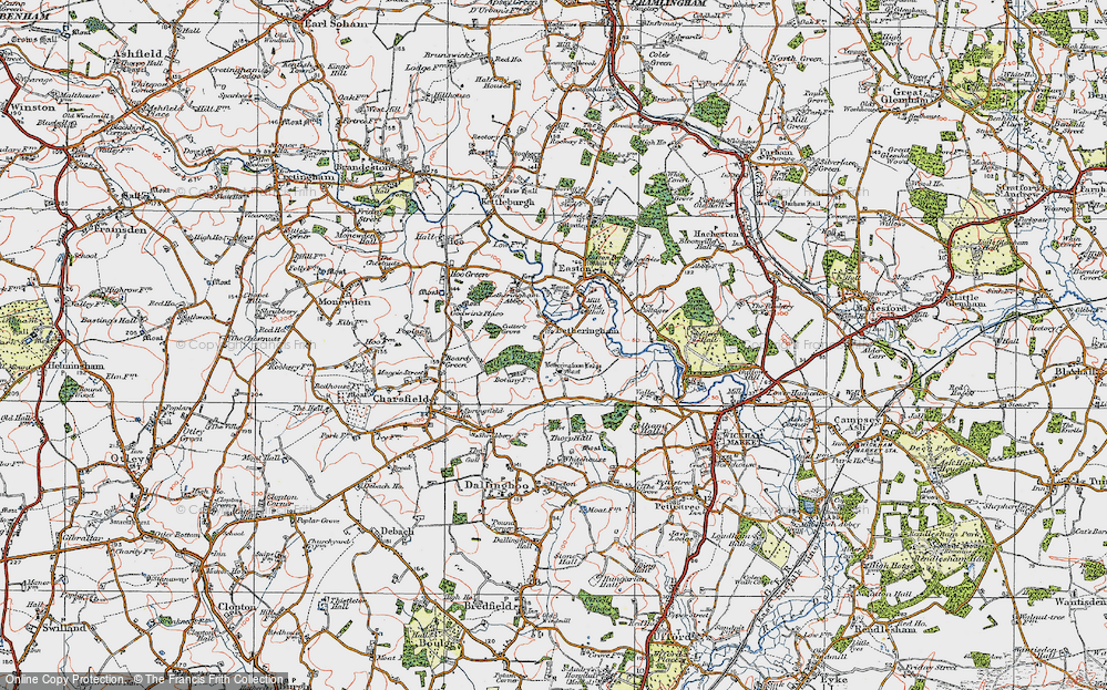 Old Map of Letheringham, 1921 in 1921