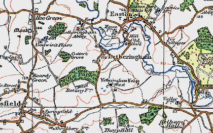 Old map of Letheringham in 1921