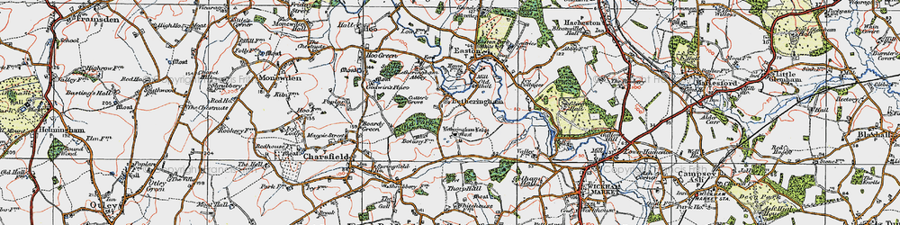 Old map of Letheringham Lodge in 1921