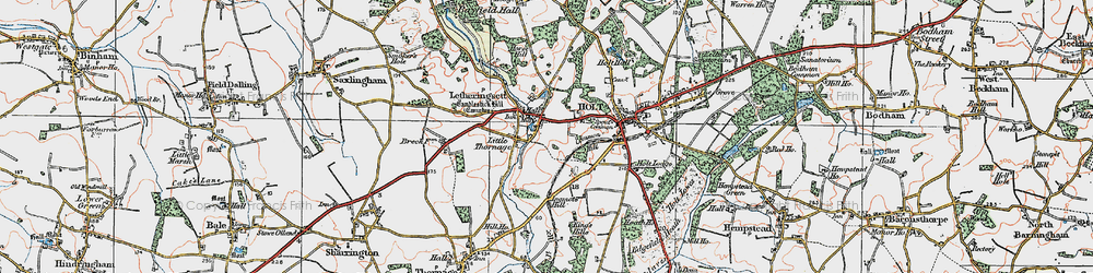 Old map of Letheringsett in 1921