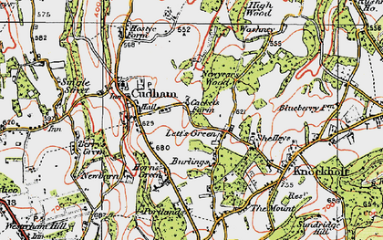 Old map of Lett's Green in 1920