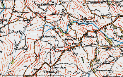 Old map of Lettaford in 1919