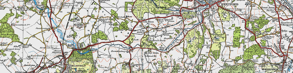 Old map of Letty Green in 1920