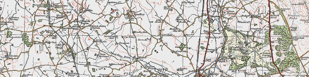 Old map of Levedale in 1921