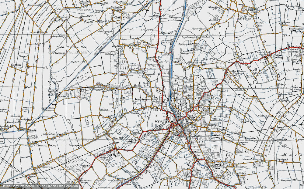Old Map of Leverington, 1922 in 1922