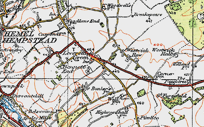 Old map of Leverstock Green in 1920