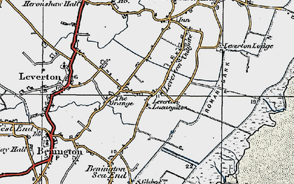 Old map of Leverton Lucasgate in 1922