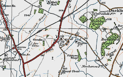 Old map of Lew in 1919
