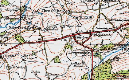 Old map of Lewdown in 1919