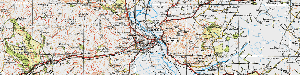 Old map of Lewes in 1920