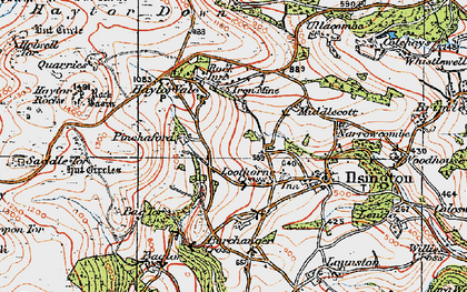 Old map of Bag Tor in 1919