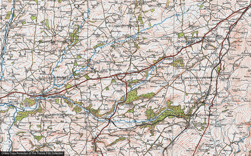 Old Map of Lewtrenchard, 1919 in 1919