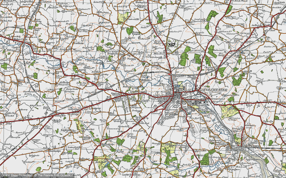 Old Map of Lexden, 1921 in 1921