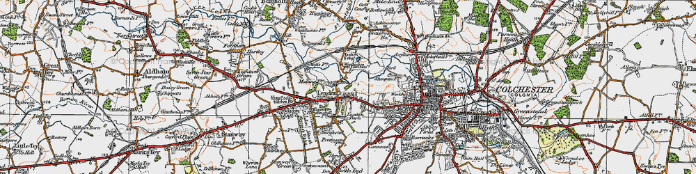Old map of Lexden in 1921
