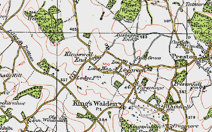 Old map of Ley Green in 1920