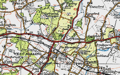 Old map of Leybourne in 1920