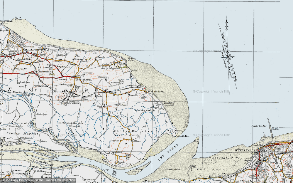 Old Map of Leysdown-on-Sea, 1921 in 1921