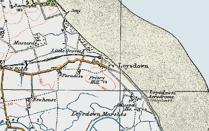 Old map of Leysdown Marshes in 1921