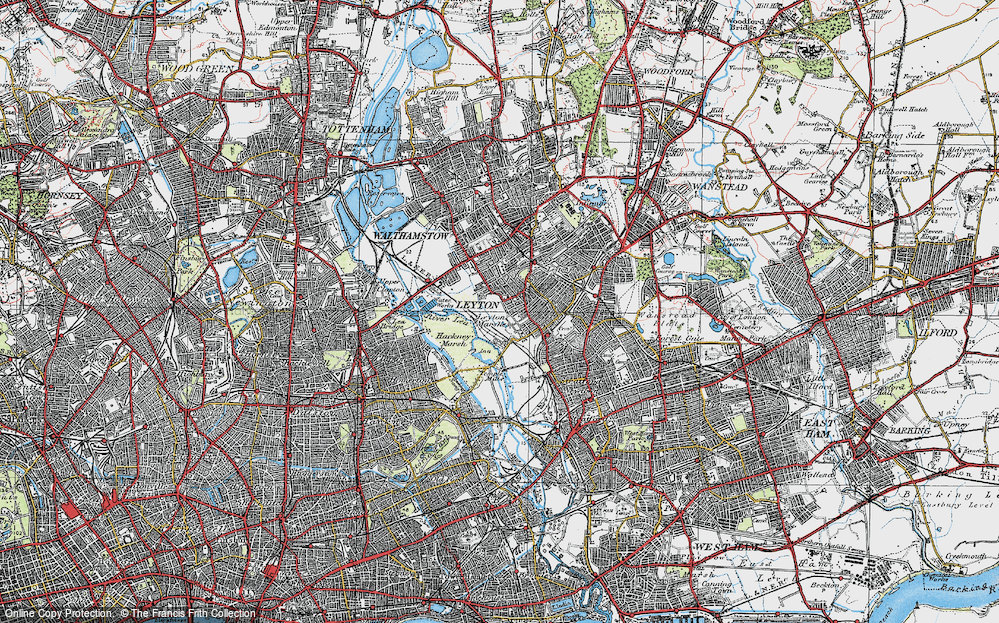 Old Map of Leyton, 1920 in 1920