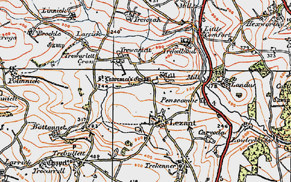 Old map of Lezant in 1919