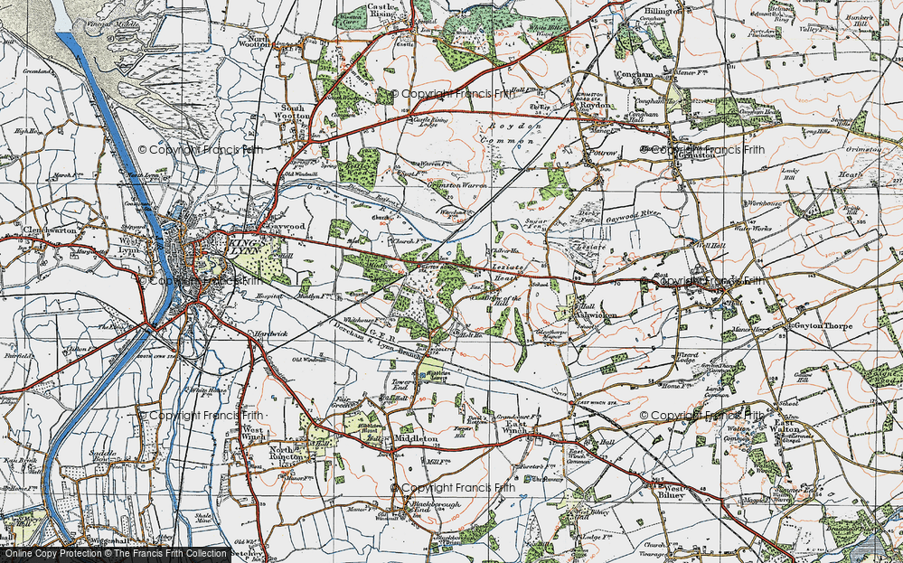 Old Map of Leziate, 1922 in 1922