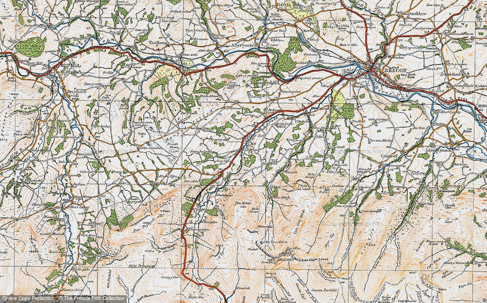 Old Map of Historic Map covering Afon Tarell in 1923