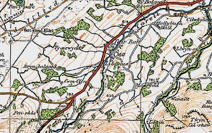 Old map of Afon Tarell in 1923