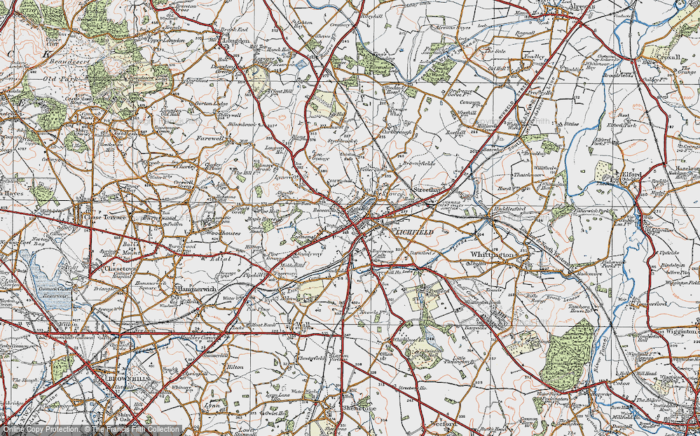 Old Map of Lichfield, 1921 in 1921