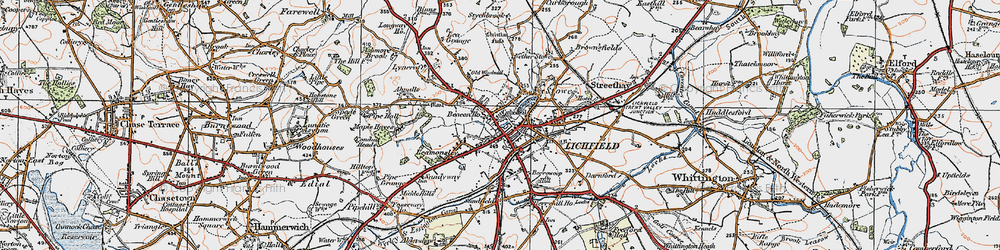 Old map of Lichfield in 1921