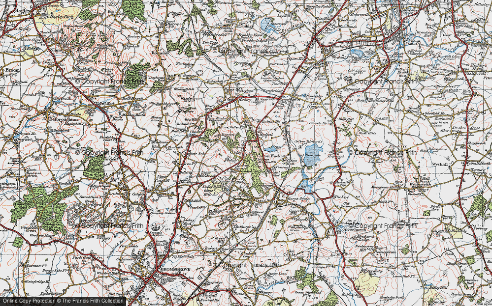 Old Map of Historic Map covering Lickey Hills in 1921