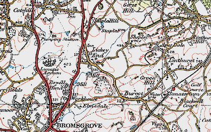Old map of Lickey End in 1919