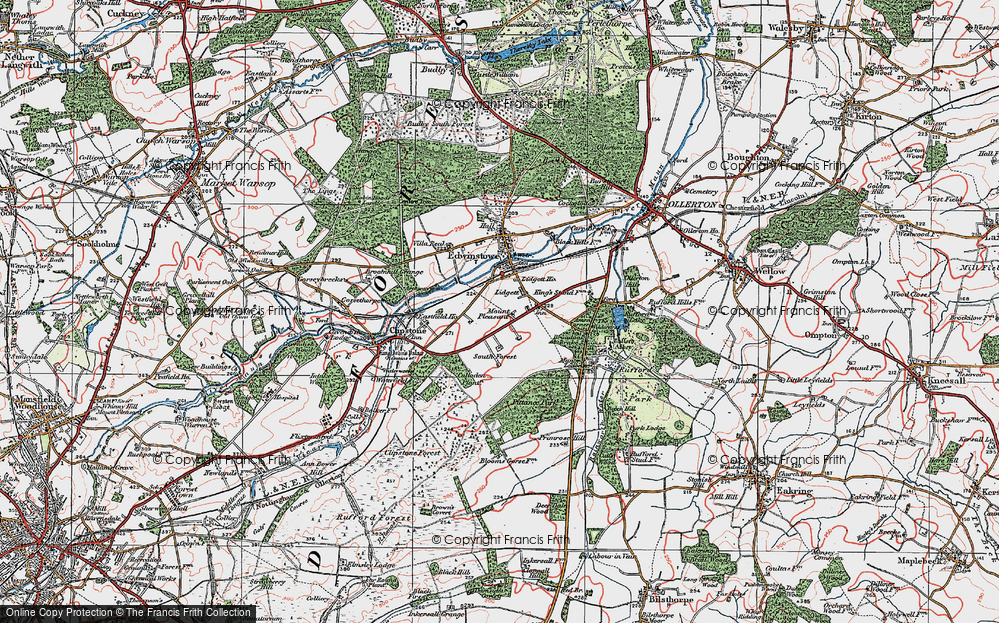 Old Map of Historic Map covering Amen Corner in 1923