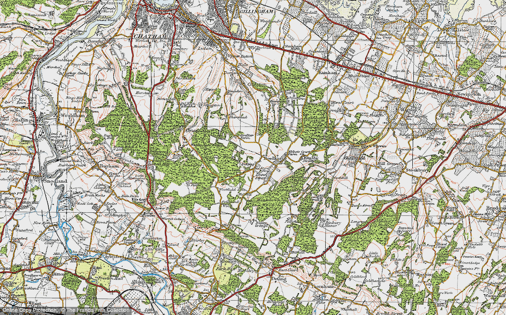 Old Map of Lidsing, 1921 in 1921
