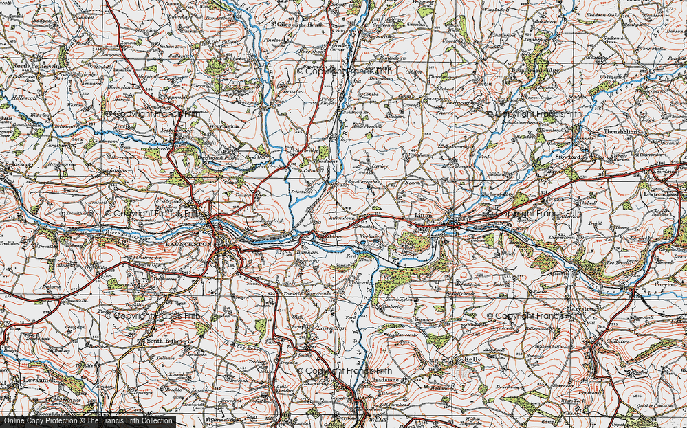 Old Map of Liftondown, 1919 in 1919