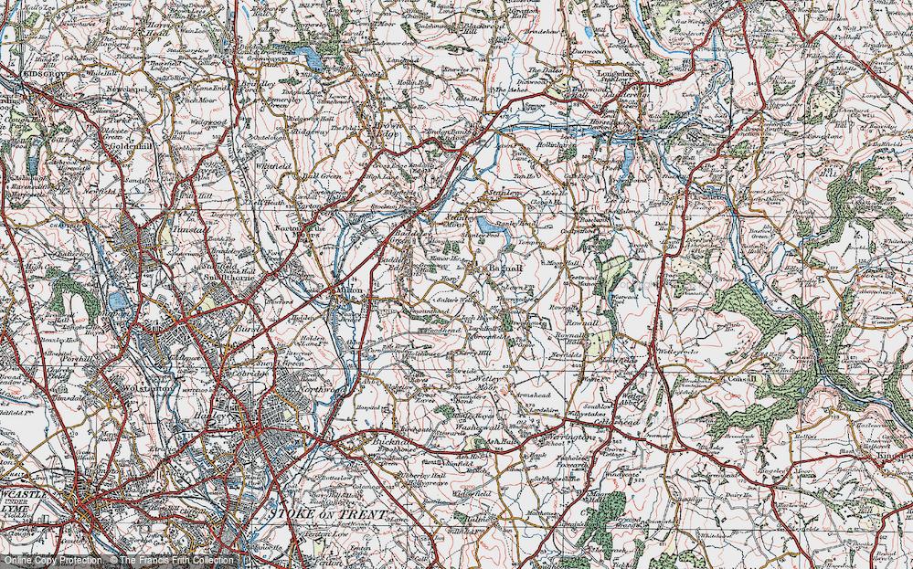 Old Map of Light Oaks, 1921 in 1921