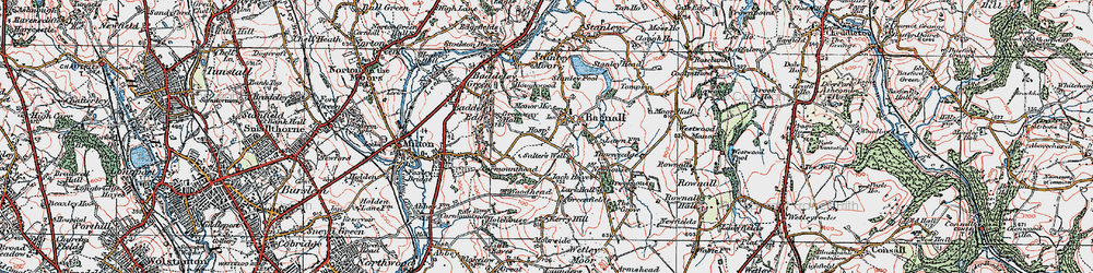 Old map of Light Oaks in 1921
