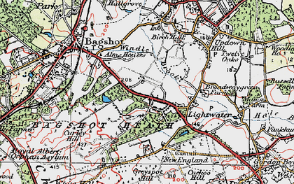 Old map of Lightwater in 1920