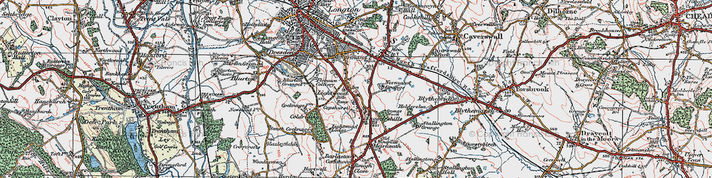 Old map of Lightwood in 1921