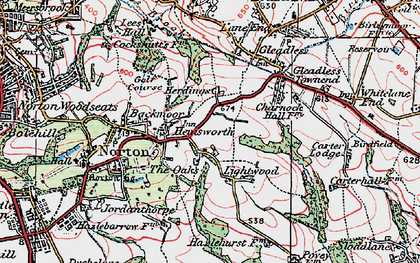 Old map of Lightwood in 1923